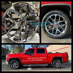 22 Gmc Sierra Snowflake Wheels Chrome Chevy Silverado Rims Escalade Ck156 New