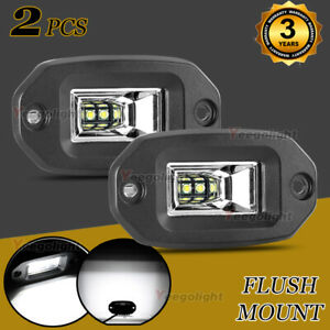 2x Flood Flush Mount Led Pods Off Road Backup Driving Lights For Jeep Bumper Us