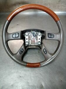 Leather Woodgrain Steering Wheel W Buttons From 2004 Cadillac Escalade 7495335
