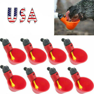 10pcs Poultry Water Drinking Cups Chicken Hen Plastic Automatic Drinker Us New