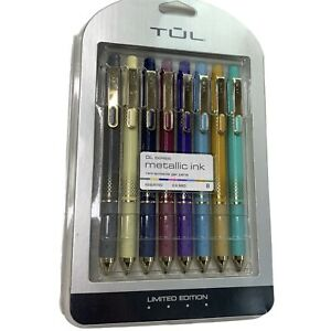 Tul Metallic Ink Retractable Gel Pens Limited Edition Shimmering 8 Pack New