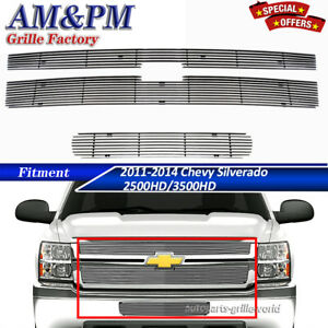 Fits 2011 2014 Chevy Silverado 2500hd 3500hd Billet Grille Combo Insert Chrome