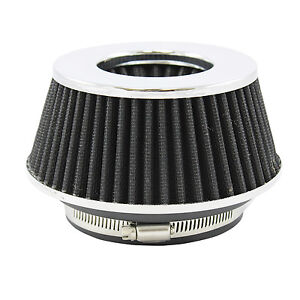 Small Black Universal Cone Intake Air Filter 2 65 L X 6 W Inlet 3 3 5 Or 4