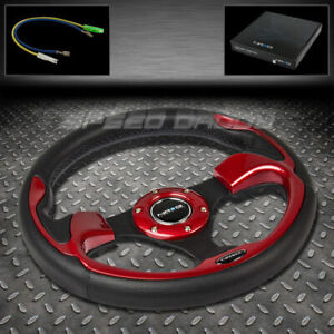 Nrg Reinforced 320mm Black Pvc Leather Red Accent Trim Inserts Steering Wheel