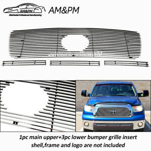 Fits 07 09 Toyota Tundra Billet Grille Combo Upper Lower 2008 Chrome 4pcs