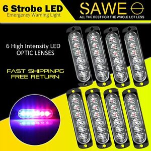 8 X Blue Red 6 Led Car Truck Emergency Beacon Warning Hazard Flash Strobe Light