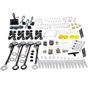 Universal Electric Power Window Lift Regulator Conversion Kit 4 Door Switches