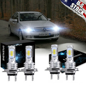 For Mercedes Benz C250 C300 C350 4x Combo Headlight High Low Beam Led Bulbs