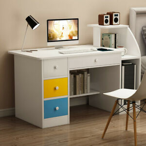 Computer Desk With 3 Drawers Shelf Laptop Office Desk Home Modern Writing Desks