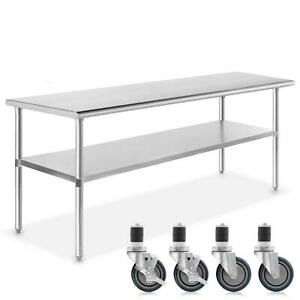 Stainless Steel Commercial Kitchen Work Food Prep Table W 4 Casters 30 X 60