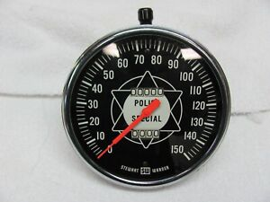 Stewart Warner Police Special Speedometer 150 Mph 5 Inch Curved Glass Cable Driv