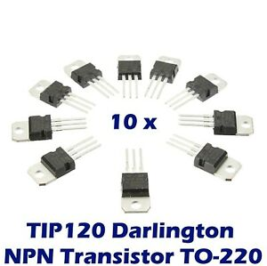10 Pcs Tip120 Darlington Transistor To 220 Npn Bjt St For Arduino