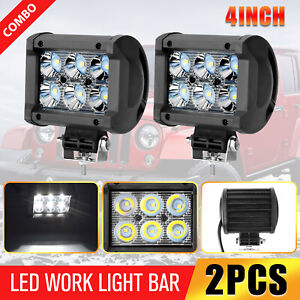 2x 4inch 18w Led Work Light Bar Spot Pods Fog Lamp Offroad Driving Truck Suv Atv