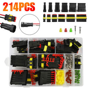 214pcs 1 6 Pin Automotive Waterproof Car Auto Electrical Wire Connector Plug Kit