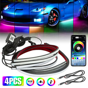 App Control Led Strips Under Car Tube Underglow Underbody System Neon Light Kit