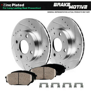 For 2002 2003 2006 Mini Cooper Front Dril Slot Brake Rotors Ceramic Pads