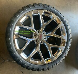 22 Gmc Sierra Chrome Snowflake Wheels Chevy Silverado Mt Tires Rims