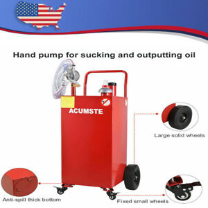 35 Gallon Gas Fuel Diesel Caddy Transfer Portable Tank W pump Container Red