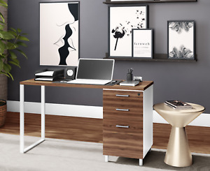 Milano Home Office Computer Desk With 3 Lockable Drawers