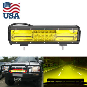 3000k Yellow Led Work Light Bar Flood Spot Combo Fog Lamp Offroad Driving Truck