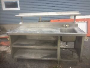 Stainless Steel 1 Sink Prep Table With Shelf