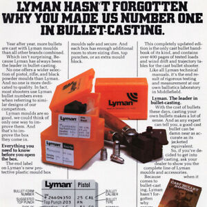 1981 Lyman Bullet Casting Print Advertisement Reloading Ammo Ammunition Tool $8.50