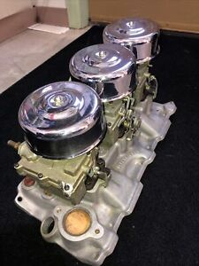 Offenhauser Chevy Intake Manifold 3x2 Tri Power Rochester Carbs And Linkages