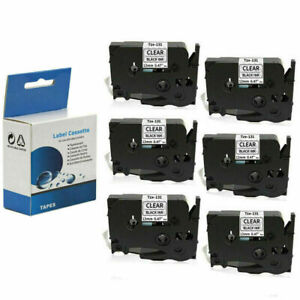 6 Pack Black On Clear Label Tape For Brother Tze 131 Tz 131 Pt 1280 P touch 12mm