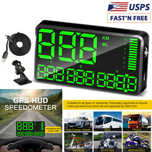 5 5 Universal Car Gps Hud Head Up Display Speedometer Mph Km H Overspeed Alarm