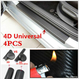 For Dodge Carbon Fiber Rubber Car Door Scuff Sill Cover Panel Step Protector