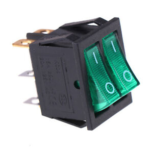Double Boat Rocker Switch 6 Pin On off With Green Light 20a 125vac Kcd6 exatsv