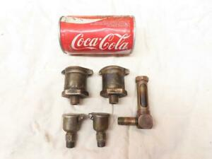 Lot Of Antique Hit Miss Gas Steam Engine Brass Oiler Grease Cup Sight Glass