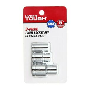 Hyper Tough 3 piece 10 mm Socket Set 1 4 3 8 1 2 Drive Chrome Vanadium