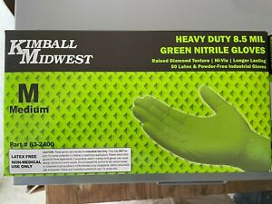 Heavy Duty 8 5 Mil Green Nitrile Gloves Raised Diamond Texture Medium