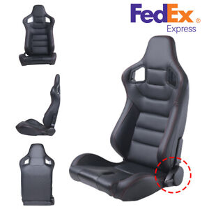 Universal Reclinable Racing Seats 1 Sliders Leather Bucket Sport Seat Black Usa