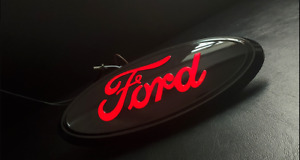 9 led Black Red Light Front Grille Tailgate Badge Nameplate For Ford F150 F250
