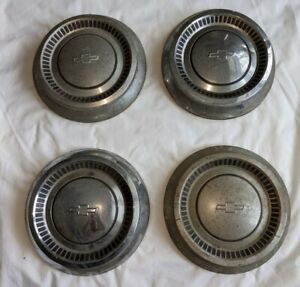 Set Of 4 Antique Vintage 1960 S Chevrolet Dog Dish Hubcaps 10 5 1964 Chevy