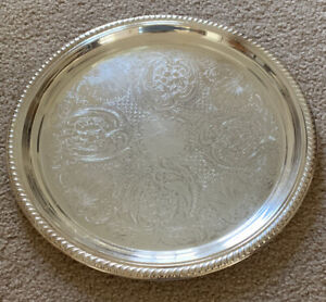 Vintage English Silver Mfg Silverplate Round Etched Floral Serving Tray