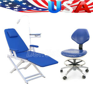 Dental Folding Chair Rechargeable Led Light Gm c004 26 Pu Dentist Mobile Chair