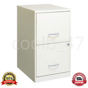18 2 Drawer Metal File Cabinet With Glide Suspension Cam Lock Pearl White