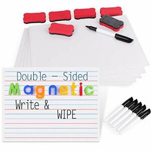Magnetic Small White Board Set Double Sided Magnet Dry Erase Ruled Lap