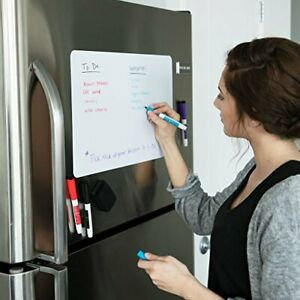 Magnetic Dry Erase Whiteboard Sheet For Kitchen Fridge With Stain 17x11 White