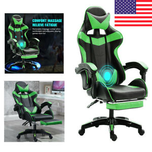Green Gaming racing Chair Desk Computer Office Task Seat W footrest Heavy Duty
