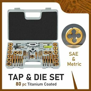 Sae And Metric Tap And Die Tool Set Threading Tool Set For Homeowners 80 Pieces