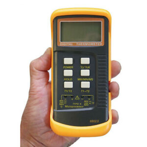 Dual Channel K type Digital Thermocouple Thermometer 6802 Ii 2 sensors And Probe