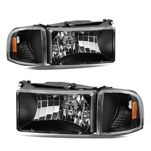 For 94 02 Dodge Ram 1500 2500 3500 Black Headlights Replacement Lamps Left right