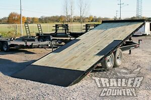 New 22 14k Heavy Duty Deck Over Flatbed Power Tilt Equipment Car Hauler Trailer