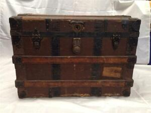 Antique 1800 S Wooden Steamer Trunk Chest Travel Luggage S H Baltimore Md