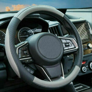 Leather Steering Wheel Cover For Men Gray Car Accessories Sports Breathable New