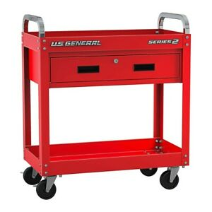 30 In Service Cart With Drawer Red